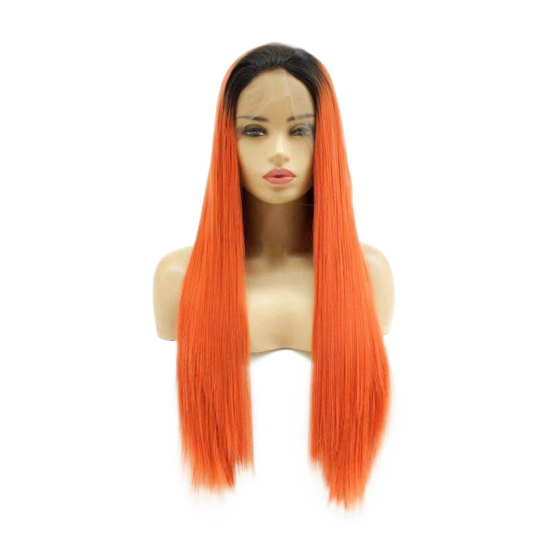 HEAHAIR Ombre Orange Brown Straight Synthetic Lace Front Wigs HS7143