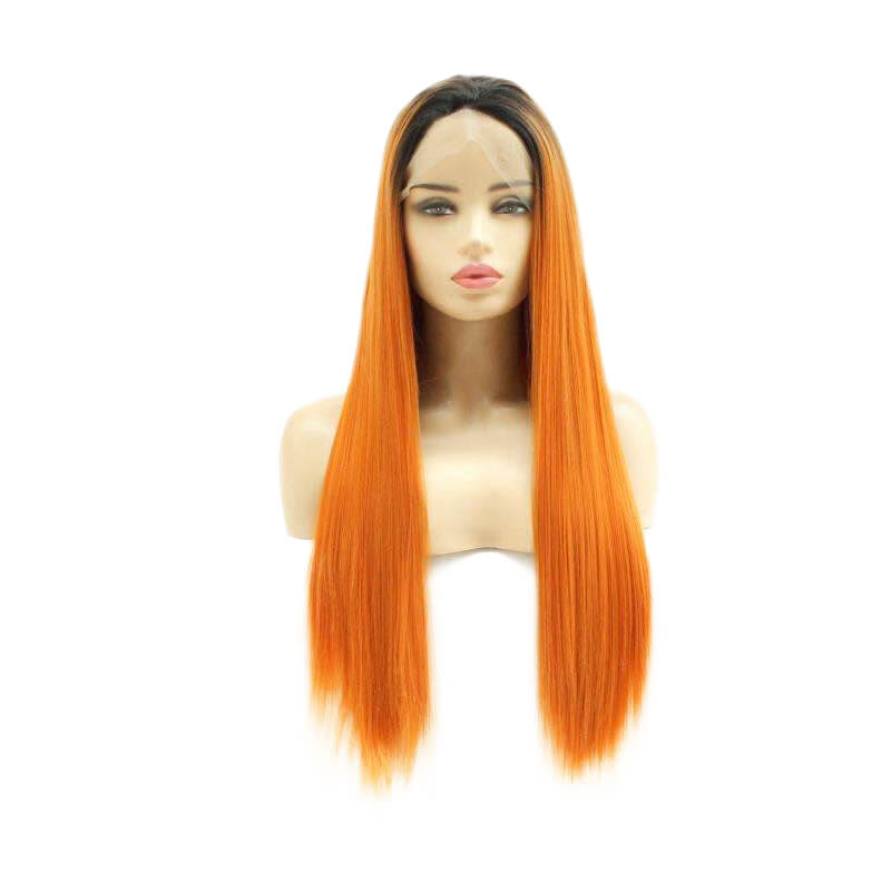 Ombre Orange Brown Straight Synthetic Lace Front Wigs HS7144