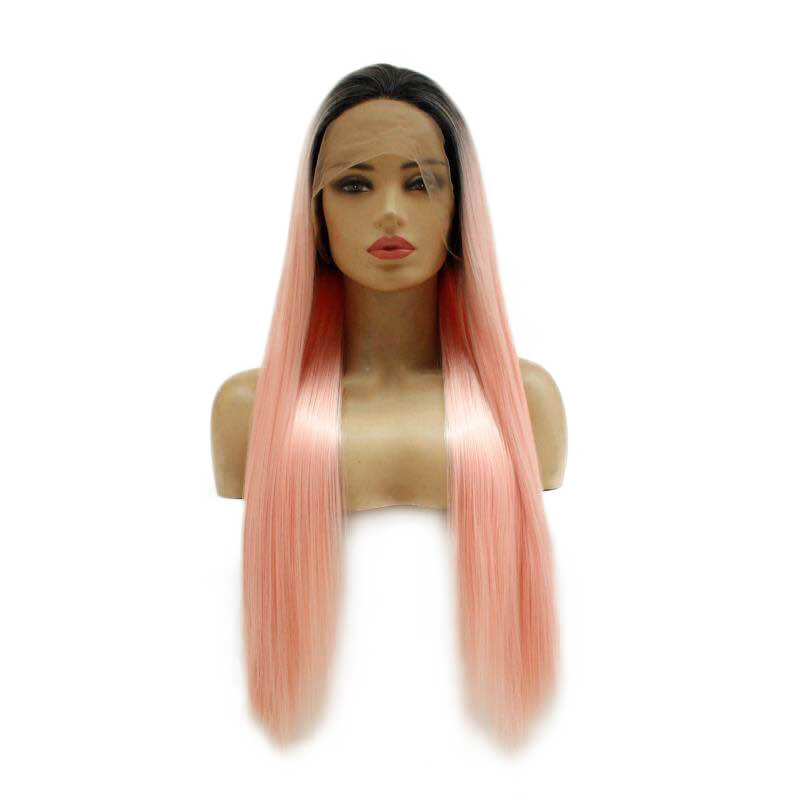 HEAHAIR Ombre Pink Straight Synthetic Lace Front Wig HS7145