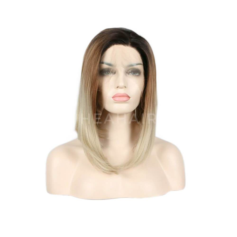 HEAHAIR Dark Root Ombre Brown To Blonde Bob Synthetic Lace Front Wigs ML1