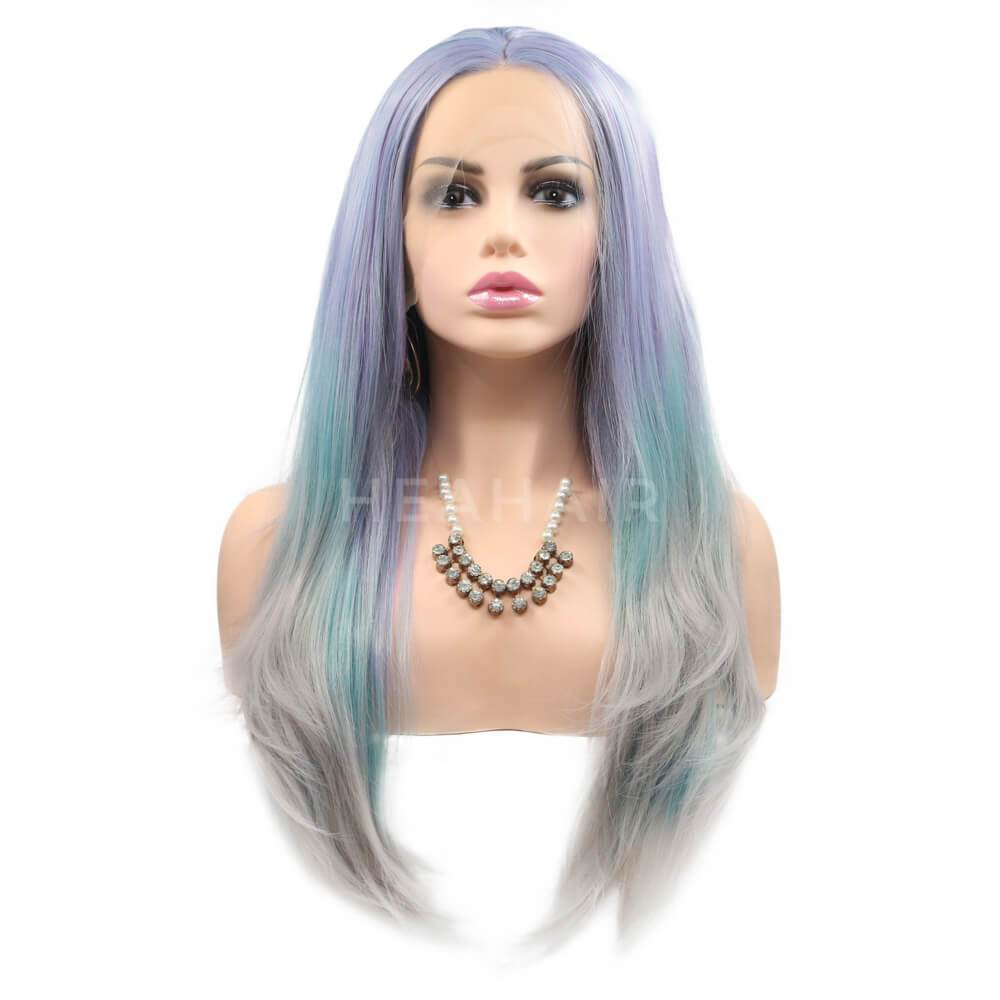 HEAHAIR Multi-Color Ombre Light Blue Gray Synthetic Lace Front Wigs ML2