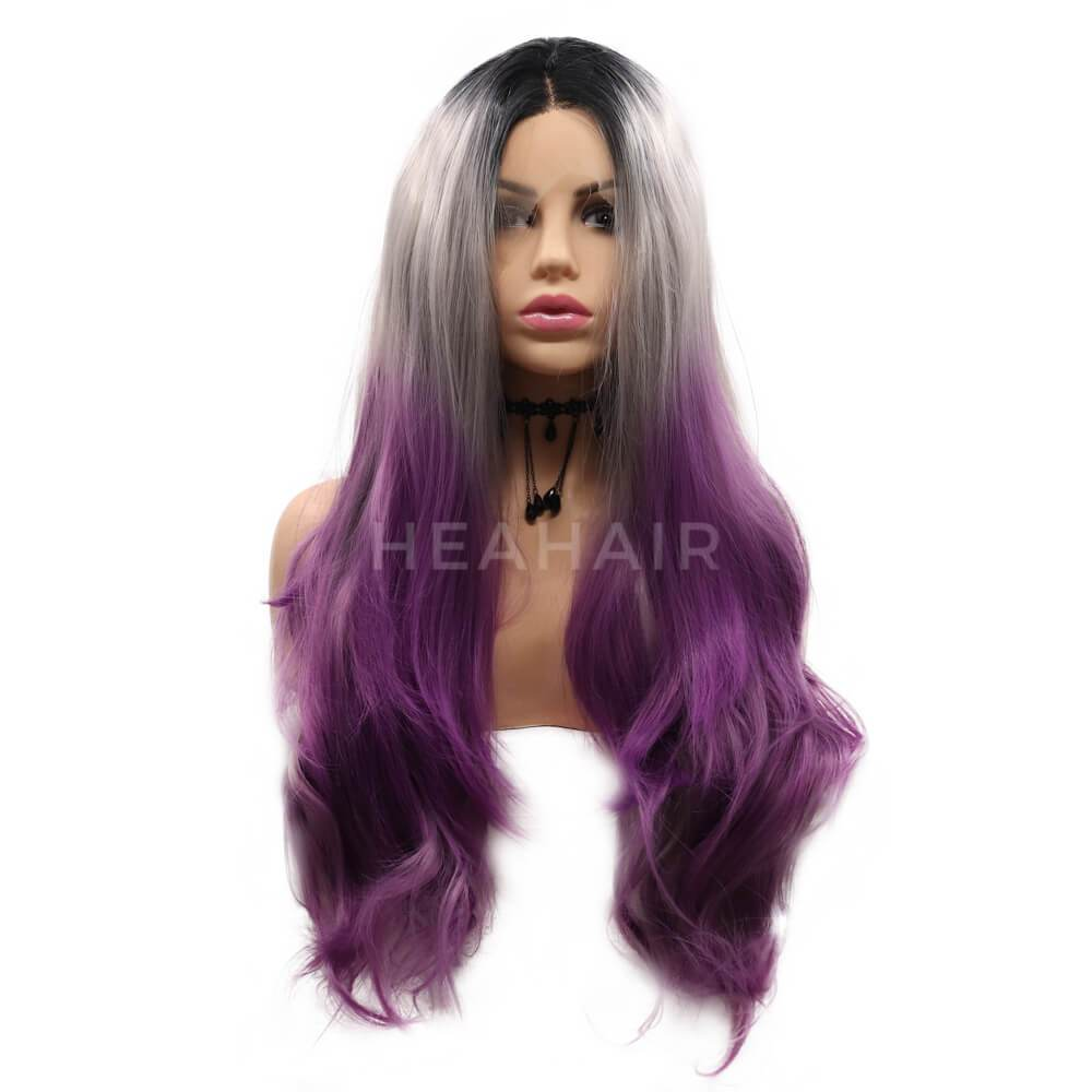 HEAHAIR Dark Root Ombre Silver To Purple Synthetic Lace Front Wigs ML4