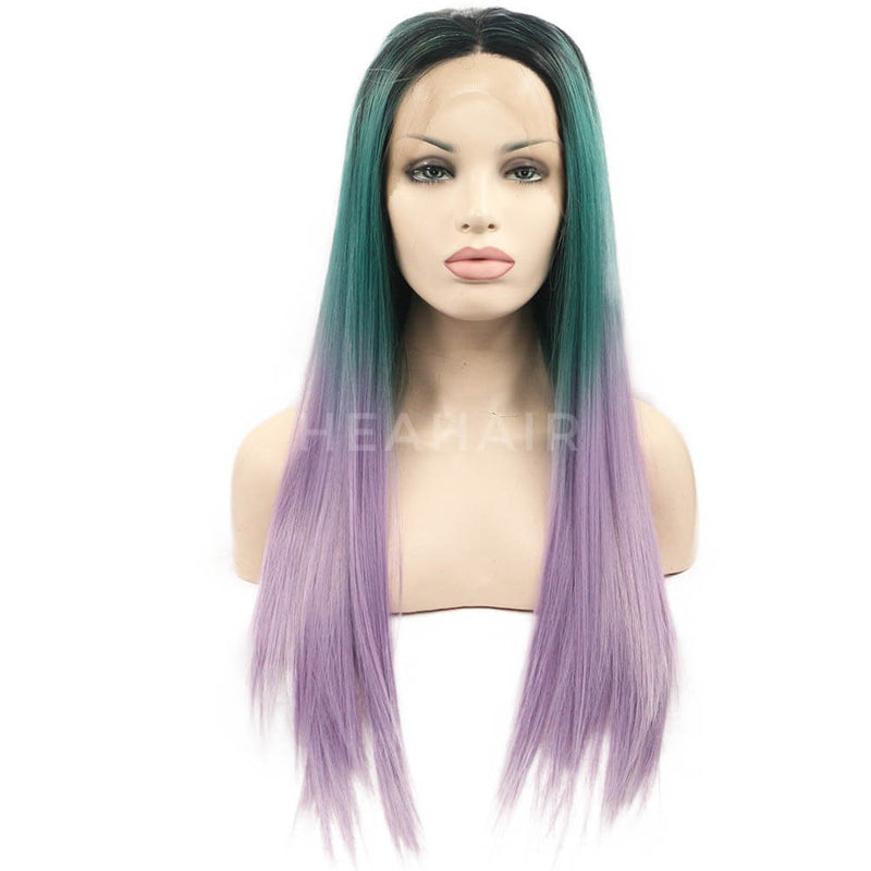 Ombre Green To Purple Straight Synthetic Lace Front Wig ML7