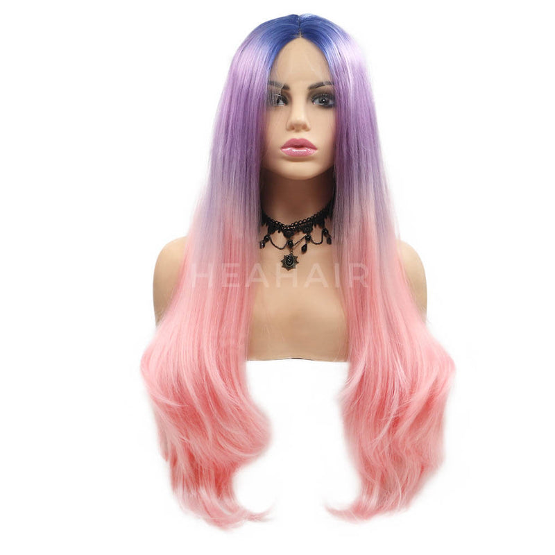 Rainbow Color Blue Purple To Red Straight Synthetic Lace Front Wig ML8