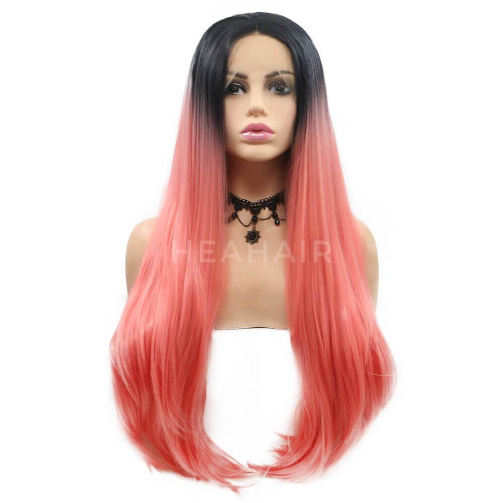 HEAHAIR Ombre Pink Straight Synthetic Lace Front Wigs OL13