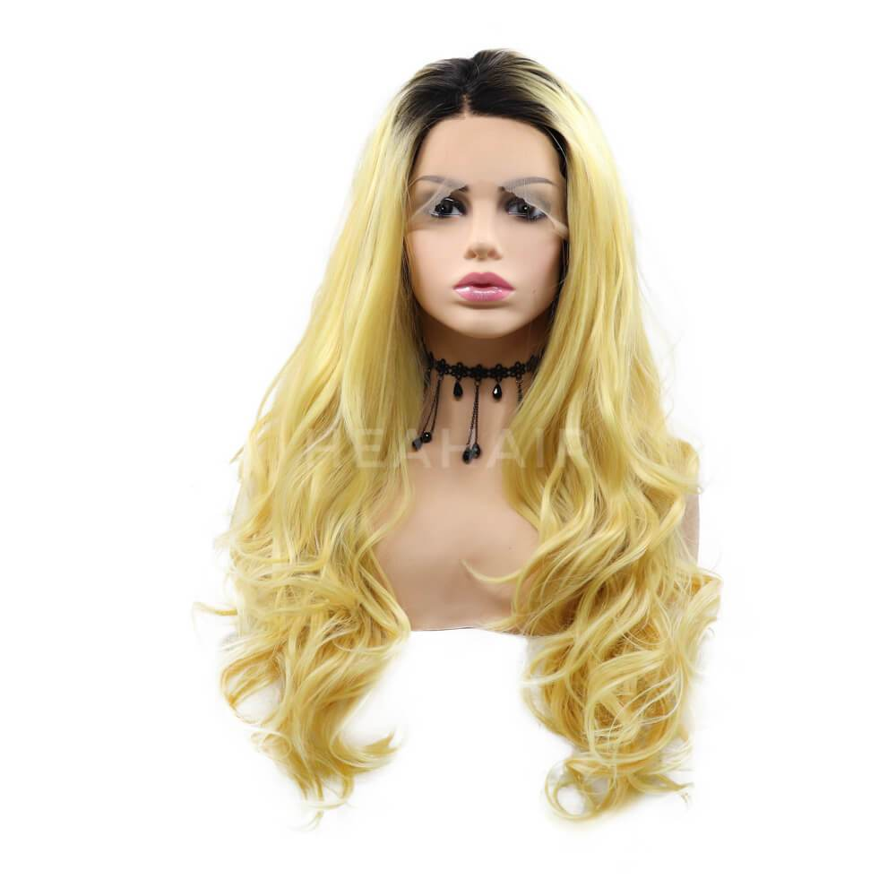 HEAHAIR Ombre Glod Blonde Wavy Synthetic Lace Front Wigs OL15