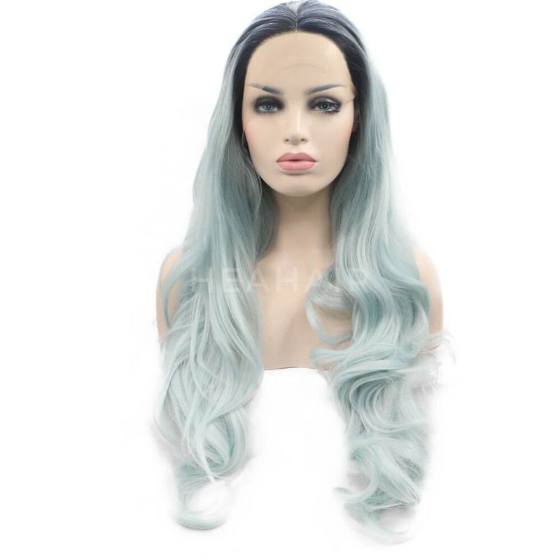 HEAHAIR Ombre Light Green Synthetic Lace Front Wigs OL18