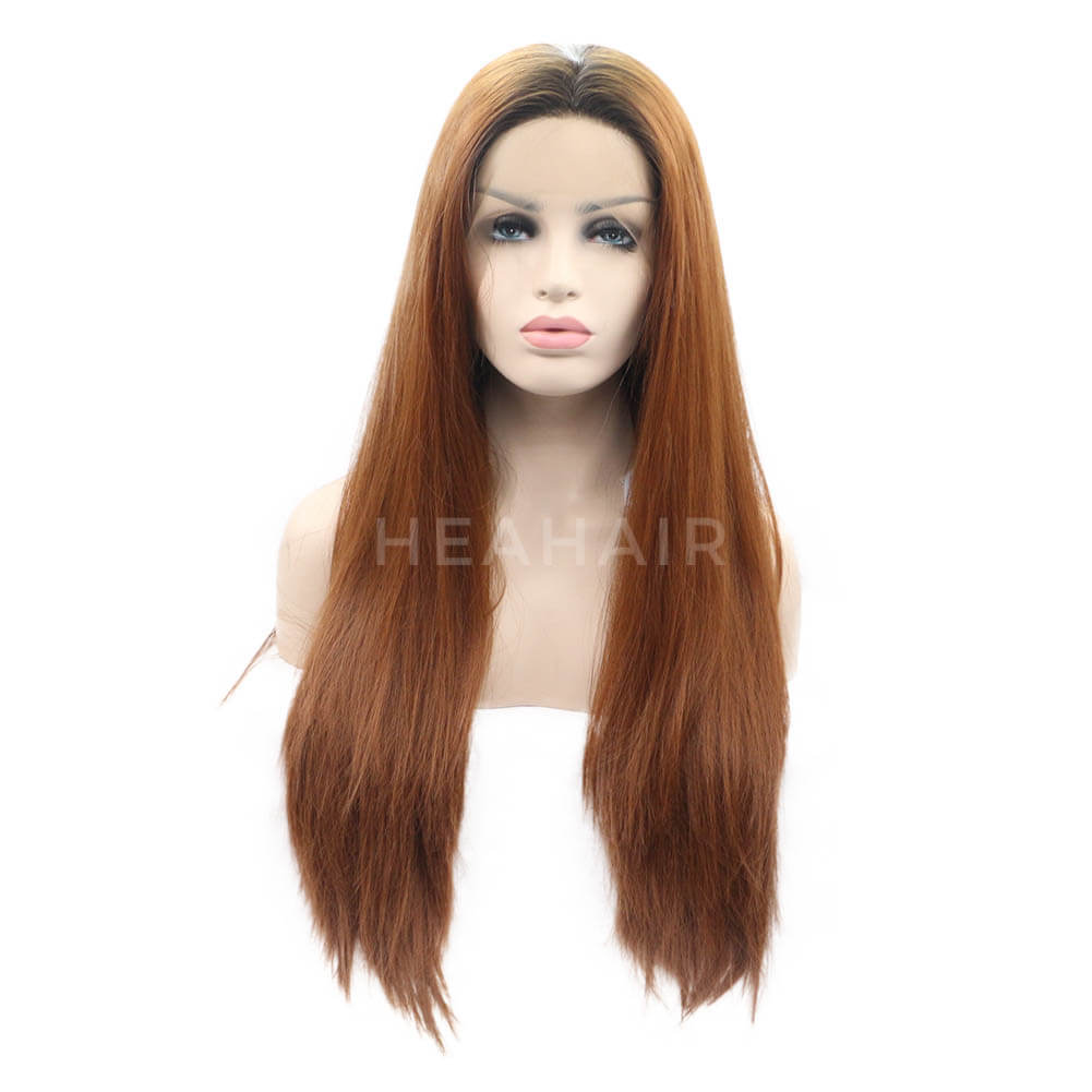 Ombre Brown Straight Synthetic Lace Front Wig OL27