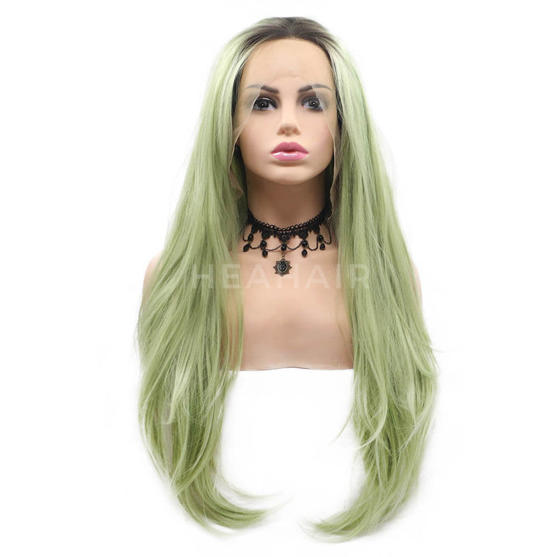 Ombre Green Straight Synthetic Lace Front Wig OL28