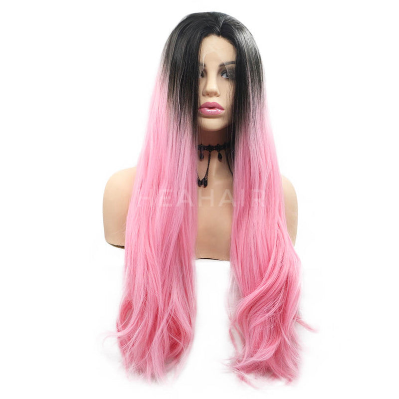 Ombre Pink Dark Root Straight Synthetic Lace Front Wig OL29