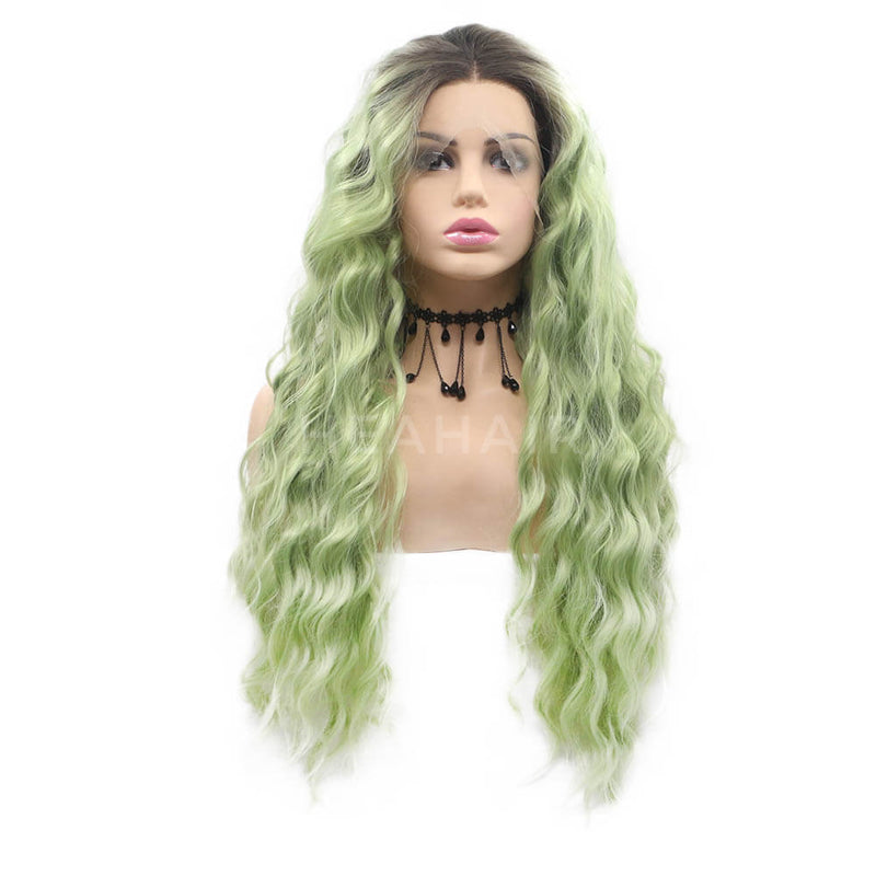 Ombre Green Curl Synthetic Lace Front Wig OL30