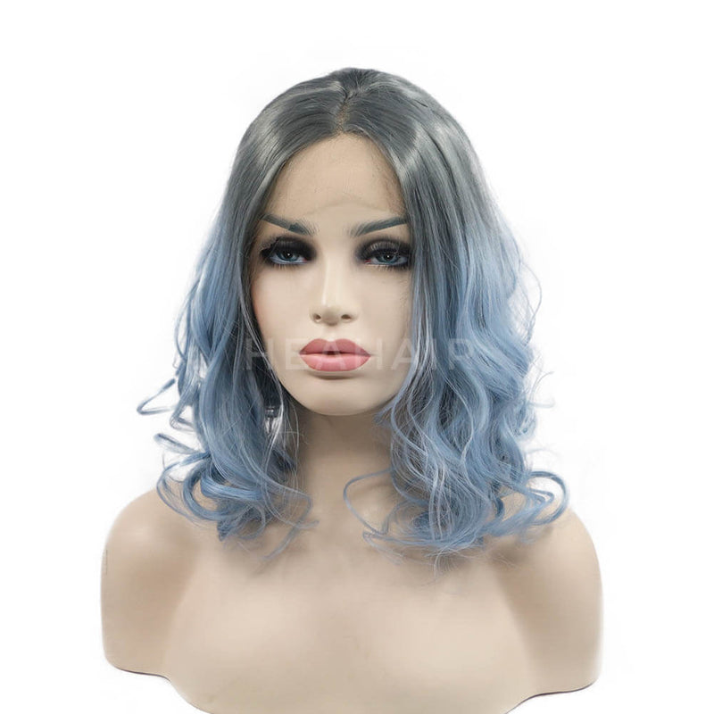 Ombre Gray To Light Blue Wavy Bob Synthetic Lace Front Wig OL32