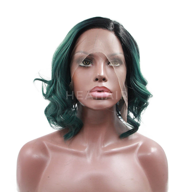 Ombre Green Wavy Bob Synthetic Lace Front Wig OL33