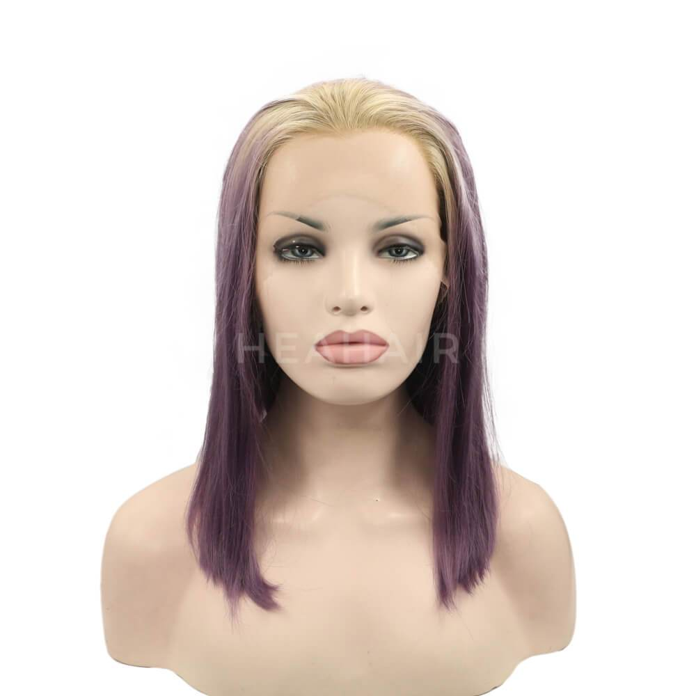 HEAHAIR Ombre Blonde To Purple Bob Synthetic Lace Front Wigs OL5