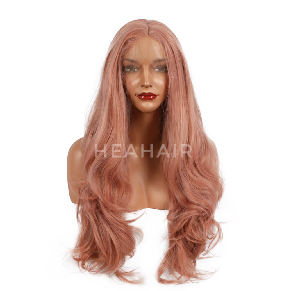 Peach Pink Wavy Synthetic Lace Front Wigs SL13