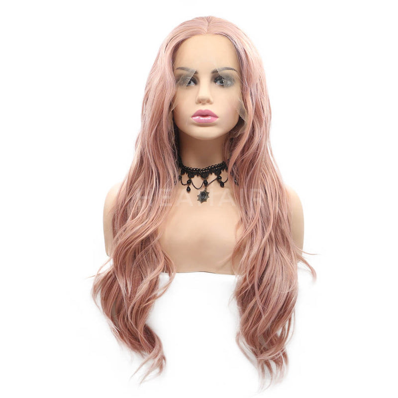 Pink Wavy Synthetic Lace Front Wig SL14