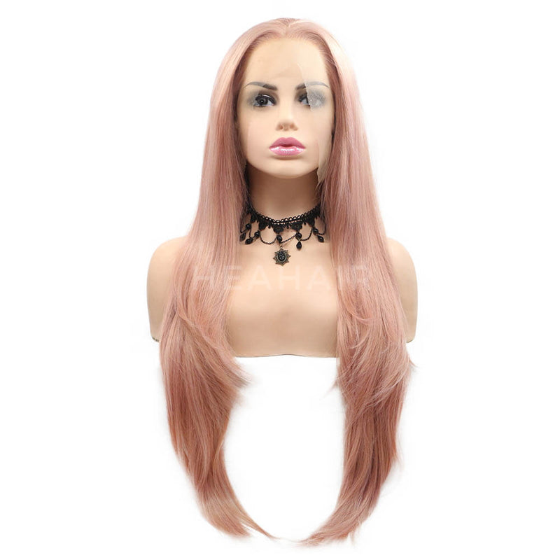 Pink Straight Synthetic Lace Front Wig SL15
