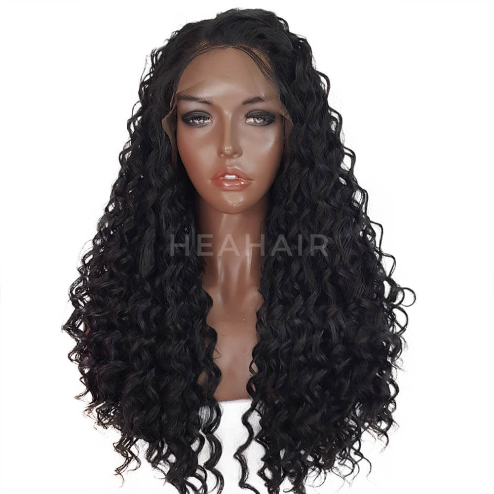 Kinky Curly Synthetic Lace Front Wigs Left Side Part SL18