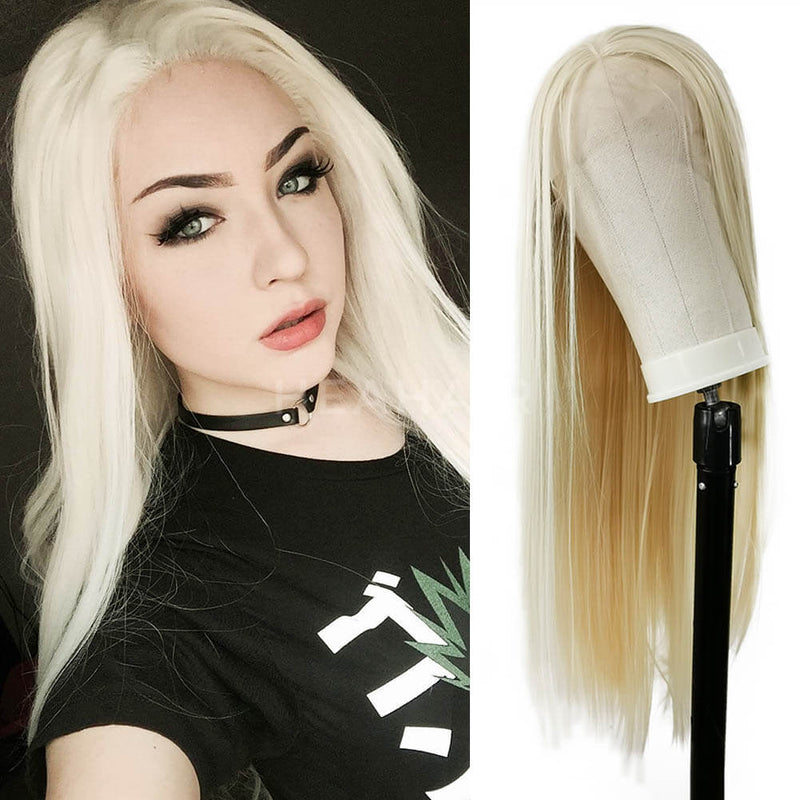 Gold Blonde Straight Synthetic Lace Front Wigs SL21