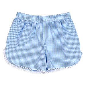 Blue Check Seersucker Girls Short