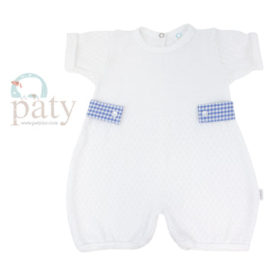 White Bubble with blue gingham side tabs