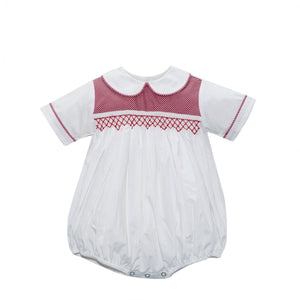 Red Mini Gingham boy Bubble with Smocking