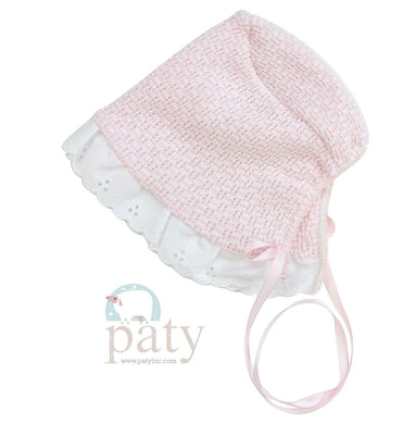 Pink bonnet With Eyelet trim