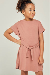 Short Sleeve Tie Front Mini T-Shirt Dress Mauve