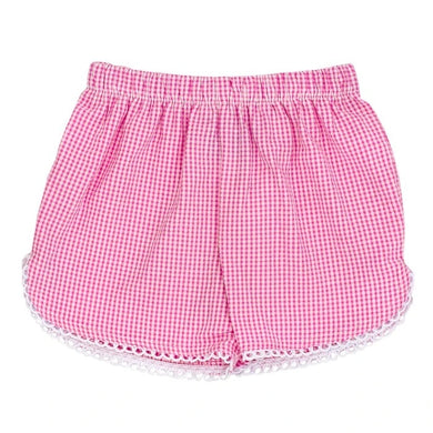 Pink Check Seersucker Girls Short