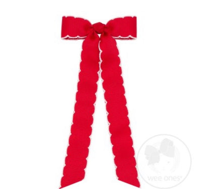Mini Moon-stitch Long-tail Bow, Red w/white