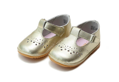 Birdie Leather T-Strap Stitched Mary Jane (Baby), Gold