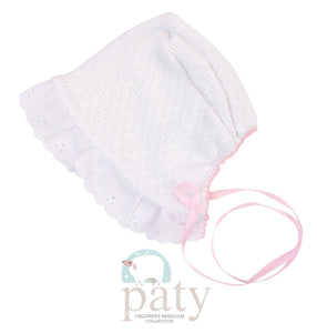 White Bonnet with Eyelet Trim Pink