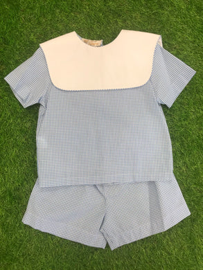Light Blue Gingham Short Set