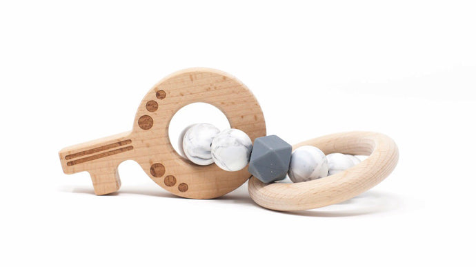 Key Teething Rattle- marble