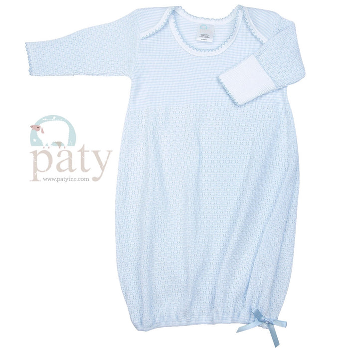 Blue Lap Shoulder Baby Gown