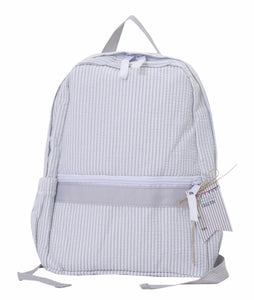 Seersucker Backpack with Outside Pockets