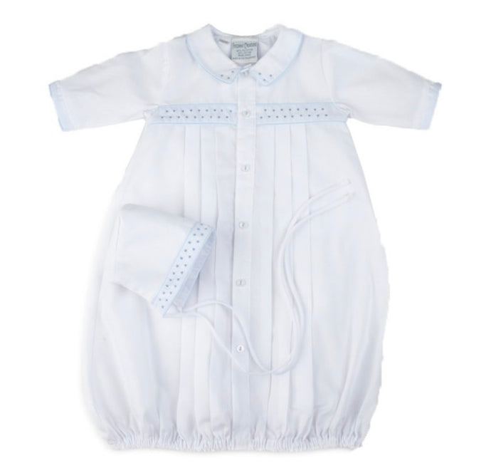Boys Dot Embroidered Take Me Home Gown with Hat NB