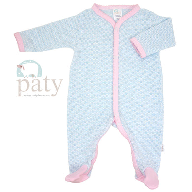 Blue Footie with pink trim