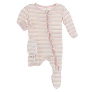 Muffin Ruffle Zipper Footie, Sweet Stripe