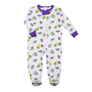 Mardi Gras Zipper Footie