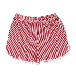 Red Check Seersucker Girls Short