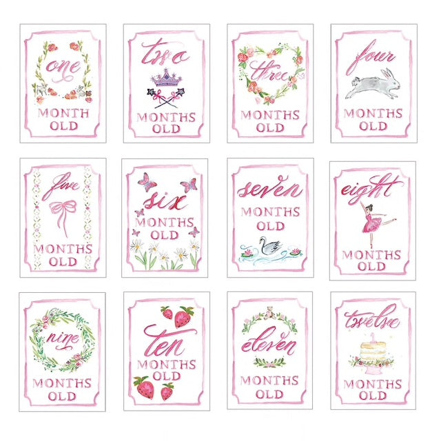 Girl Month by Month Baby Cards