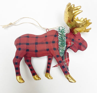 Plaid Moose Ornament