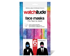 6 pack face mask/tween/adult, rainbow and blue