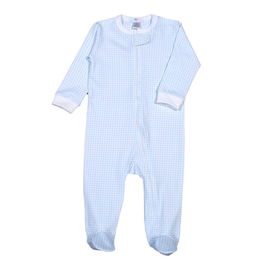Blue Gingham Zipper Footie