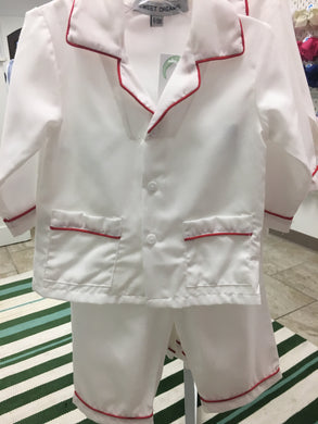 White with Red Trim 2pc Pajama