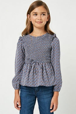 Girls Smocked Ruffled Long Sleeve Blouse