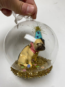 Bulldog Globe Ornament