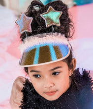 Glittery iridescent Visor with Two Glittery Stars and Shimmery Tulle Accent