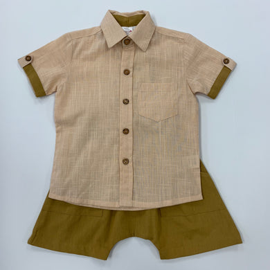 Boys Short Set Blush with Mustard